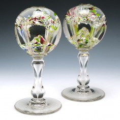 A Pair of French or Belgian Pedestal Paperweights c1880