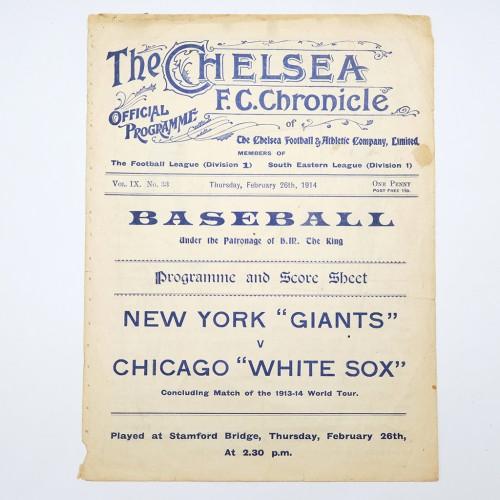 Baseball Program 1913-1914 World Tour New York Giants v Chicago White Sox