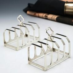 Pair of Art Deco Silver Toast Racks by Elkington & Co 1932