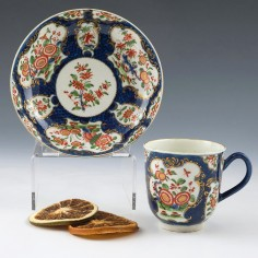 Scale Blue Worcester Porcelain Coffee Cup and Saucer c1770
