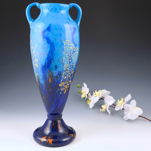 Very Tall Daum Nancy Vase With Gold Inclusions c1925