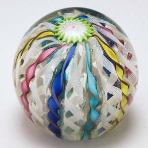 A Fratelli Toso Latticino Crown Paperweight c1960s