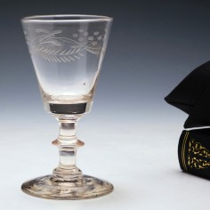 Engraved Bucket Bowl Gin Glass c1830