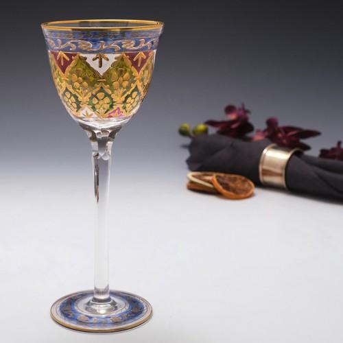 Friedrich Heckert Enamelled Wine Glass c1900
