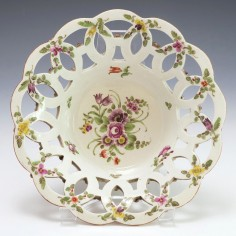 A First Period Worcester Porcelain Basket c1770