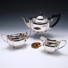 Sterling Silver Three Piece Tea Service Birmingham 1934