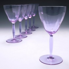 Six Signed  Moser Alexandrite Wine Glasses