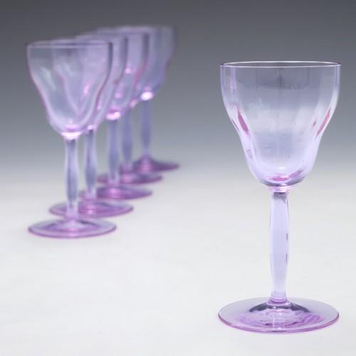 Six Signed Moser Alexandrite Schnapps Glasses