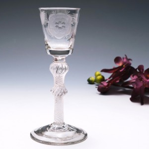 Jacobite Engraved Air Twist Stem Wine Glass c1750