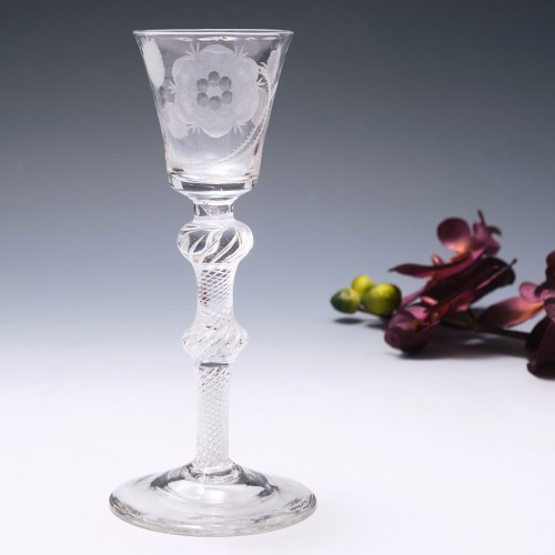 Composite Stem Double Knopped Jacobite Engraver B Wine Glass c1750