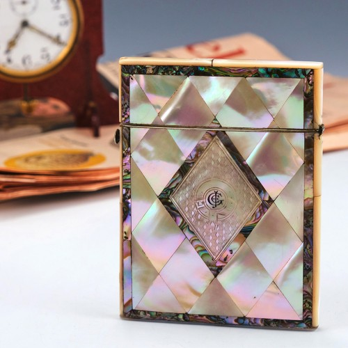 A Mother Of Pearl And Abalone Card Case c1880