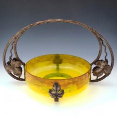 A Wrought Iron Mounted Glass Bowl Centrepiece By Degue c1930