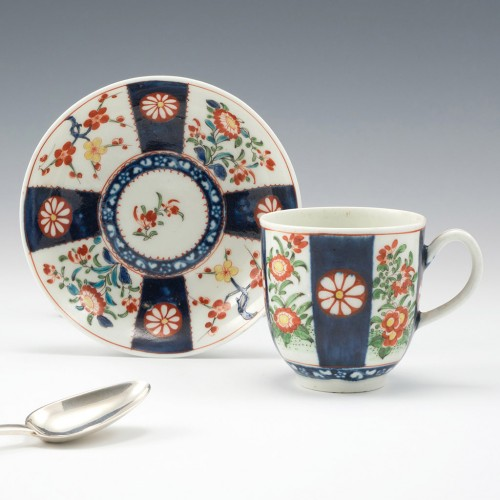 A Worcester First Period Porcelain Queens Pattern Coffee Cup and Saucer