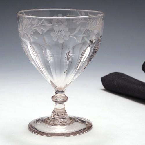A Fine Engraved Petal Moulded Rummer c1790