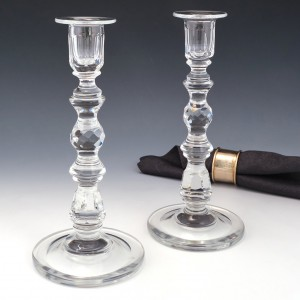 Pair French Cut Lead Crystal Candlesticks