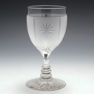 Victorian Cut and Acid Etched Wine Glass c1890