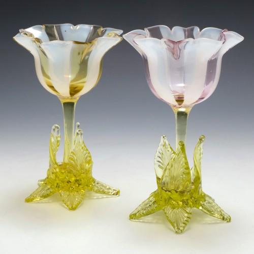 Two Richardson Vaseline Tulip Vases c1890