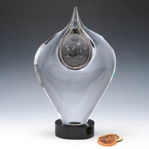 A Studio Glashyttan Ahus Grey Motion Sculpture