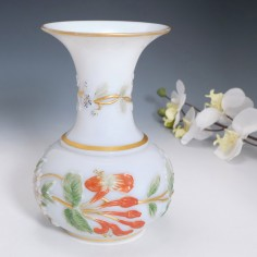 A Baccarat Opaline Floral Vase c1860