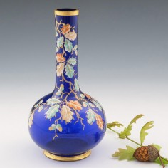 A Moser Oakleaf Enamelled Sapphire Blue Bottle Vase c1885
