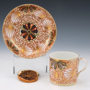 Japan Fan Coffee Can and Saucer c1805