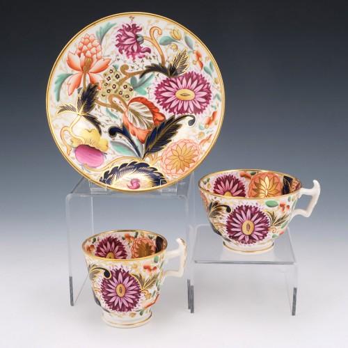 A London Shape Floral Decorated Trio c1815