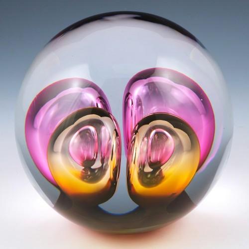 """Studio Glashyttan Ahus Crocus """"Ball Paperweight"""" 2008"""