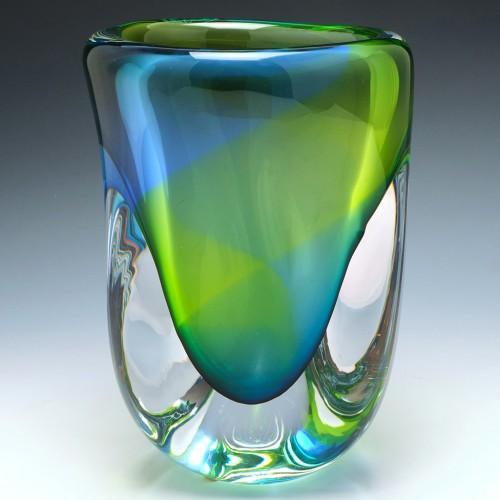 Very Large  Studio Glashyttan Ahus Aqua Glass Vase