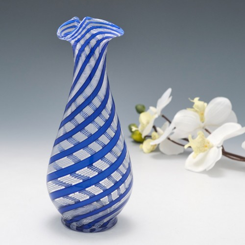 A Blue And White Mezza Filigrana Murano Pitcher Vase c1960