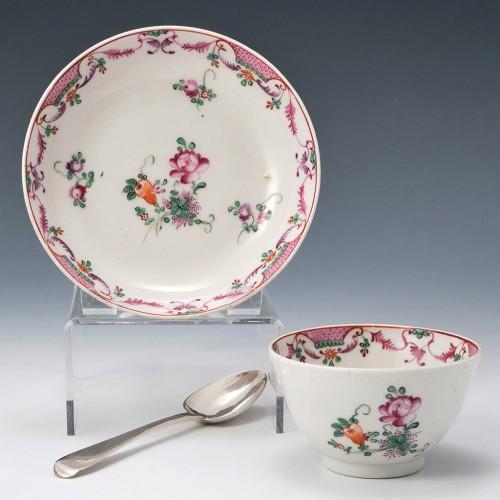 New Hall Porcelain Teabowl and Saucer c1790