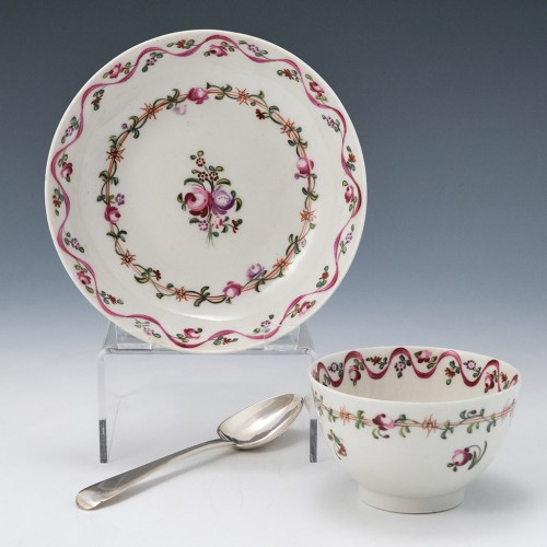 """New Hall Porcelain """"Pink Ribbon"""" Pattern Teabowl and Saucer c1790"""