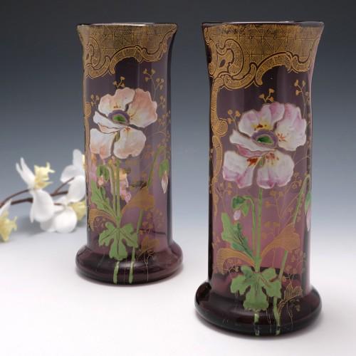 Pair Legras Enamelled Lamartine Vases c1895