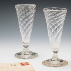Two Wrythen Moulded Ale Glasses c1780