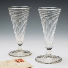Two Wrythen Moulded Georgian Ale Glasses c1780