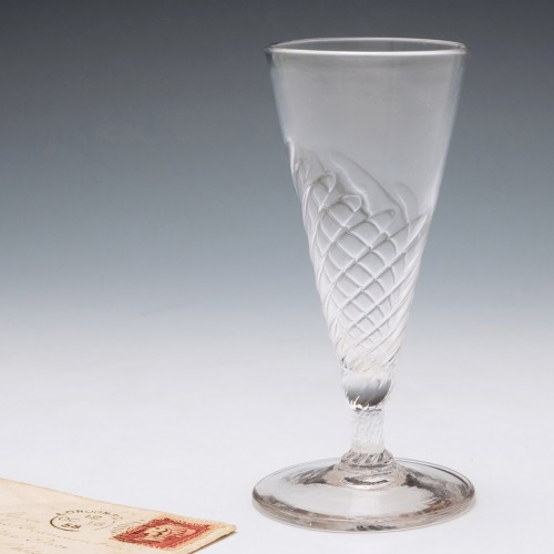 A Part Wrythen Moulded Georgian Ale Glass c1780