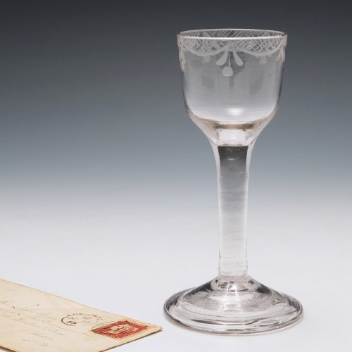 Engraved Plain Stem Georgian Wine Glass c1745