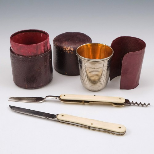 Bone Handle Gentlemans Travelling Cup And Cutlery Set  c1890