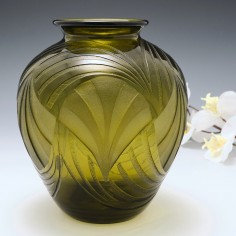 A Fine Art Deco Geometric Fan Pattern Vase By Legras c1930