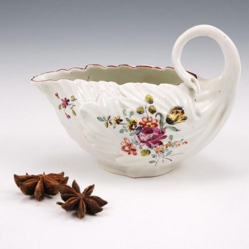 Derby Porcelain Leaf Moulded Sauce Boat 1760-65