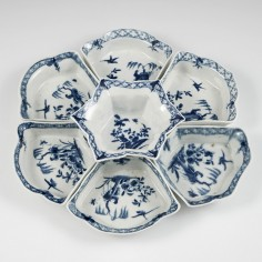 Very Rare Worcester First Period Blue and White Porcelain Hors d' Oeuvres Set 1758-65