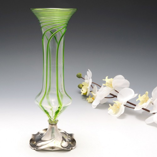 Stuart Art Nouveau Vase with Silver Plated Foot c1910