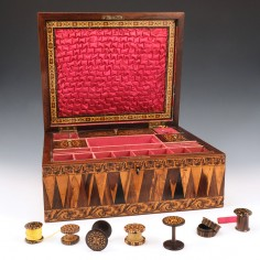 Tunbridge Ware 'Eridge Castle' Sewing Box With Requisites c1855