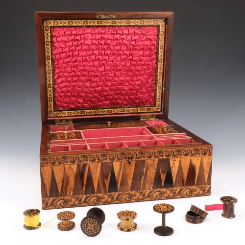 Tunbridge Ware 'Eridge Castle' Sewing Box With Requisites c1855