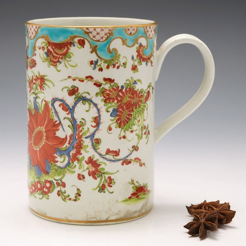 "Tall First Period Worcester ""Jabberwocky"" Pattern Mug c1770"