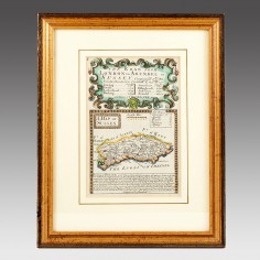 Framed  Map of  The Road from London to Arundel 1720