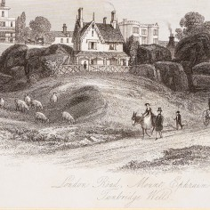 Print showing Mount Ephraim Looking Past St Helena Cottage from London Road, 1843