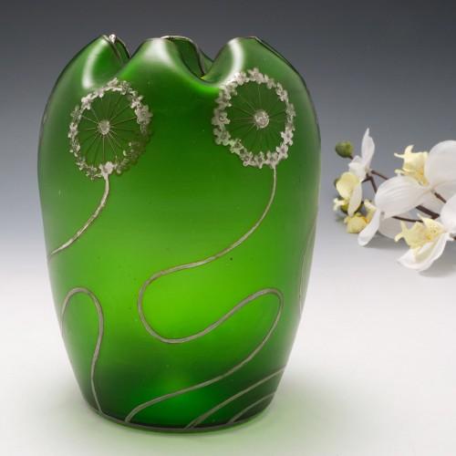 Bohemian Silver Overlay Vase c1905