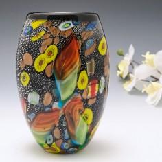 Murano Art Glass Vase With Murrines and Aventurine