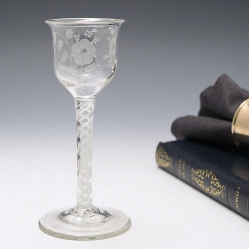 Jacobite Sympathy Opaque Twist Stem Wine Glass c1760