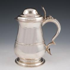Georgian Quart Sterling Silver Lidded Tankard London 1756